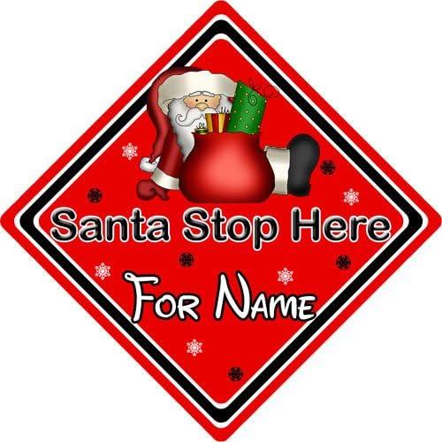 CarSignsDirect.com Personalised Santa Stop Here Window Sign ~ Santa Sack Red