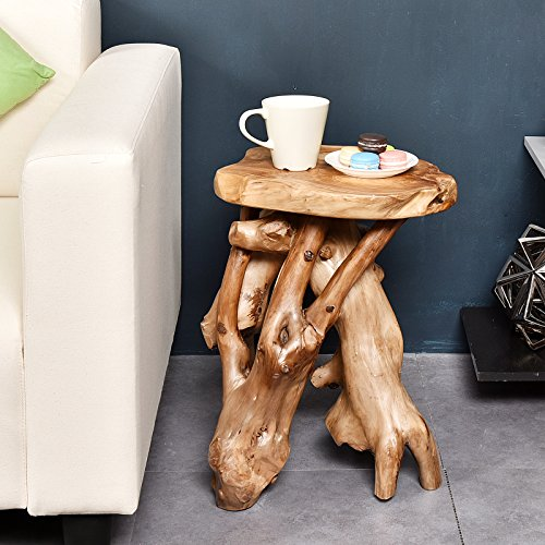 Wood Accents Carved - WELLAND Tree Stump Side Table, Live Edge Stool, Natural Edge Wood Side Table, Accent Table, 19