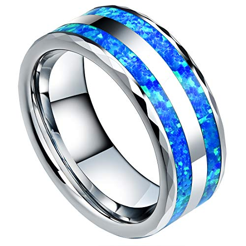 DOUX 8mm Mens Tungsten Carbide Wedding Ring Blue Opal Faceted Edge High Polished Silver Engagement Band 12