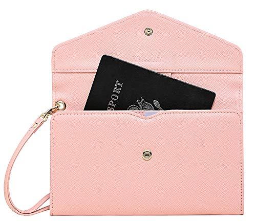 Krosslon Travel Passport Holder Wallet for Women Rfid Blocking Document Organizer Tri-fold Wristlet Bag, 205 Pastel Pink