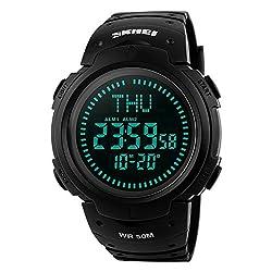 Farsler Multifunction Men's 50M Waterproof Compass Watch World Time Alarm Clock Outdoor Sports Digital Watch (Black)