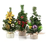 Kesoto 3 Pieces Mini Artificial Christmas Tree with Ornaments - Perfect Christmas Decoration for Table and Desk Tops