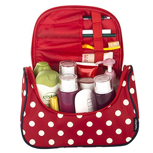 Red Cosmetic Bag, Yeiotsy Stylish Polka Dots Travel Toiletry Bag Makeup Organizer Zippers Closure (Classic Red) by Yeiotsy (Image #2)