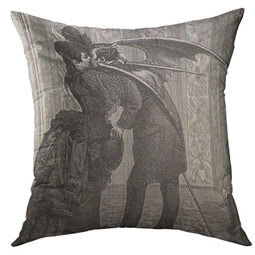 Mugod Decorative Throw Pillow Cover Black Steampunk Vampire Kiss Victorian White Unique Home Decor Pillow case 18x18 Inch