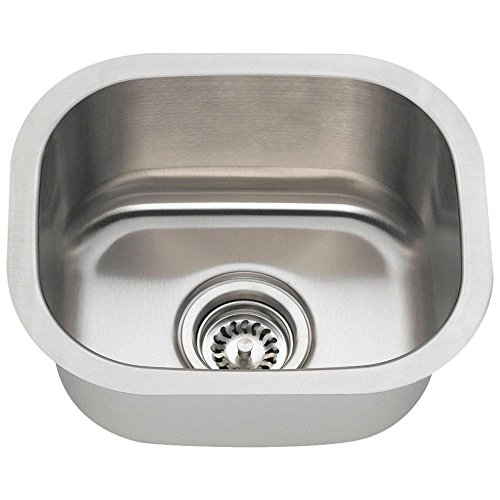 MR Direct 1512 18 Gauge Undermount Single Bowl Stainless Steel Bar Sink