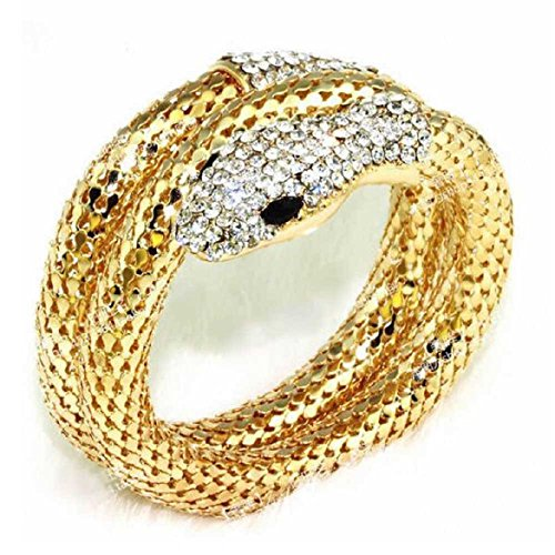 Sandistore Vintage Retro Punk Rhinestone Curved Stretch Snake Cuff Bangle Bracelet (Gold)