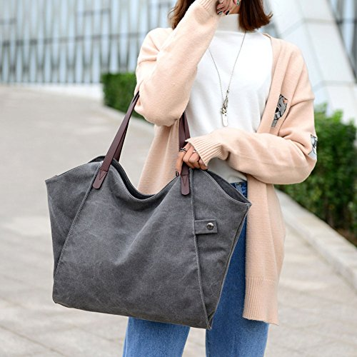 SIMPLE For Girls Handbag Gray Shopper Simple Totes Style Brown Bag Vintage Hobo Students Canvas Women SIMPLE ParaCity Women's Shoulder Bag W467nqU