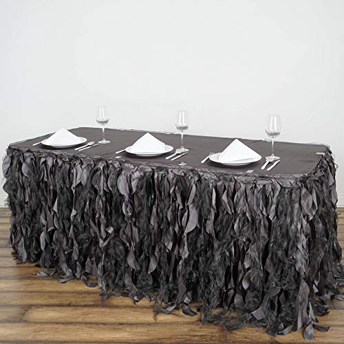 BalsaCircle 17 feet x 29-Inch Charcoal Grey Curly Waves Taffeta Table Skirt Wedding Party Events Decorations Kitchen Dining Catering ()