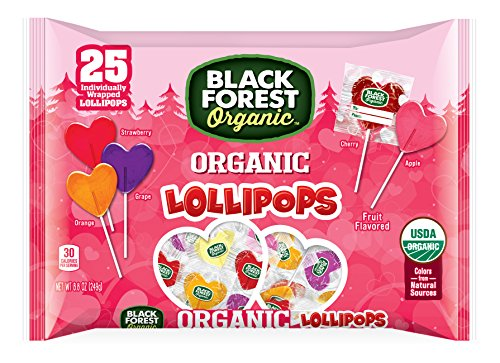 Lollipops Valentines Day (Black Forest Organic Valentine's Day Heart Lollipops Bag, Assorted Flavors, 25 Count  (Pack of 6))