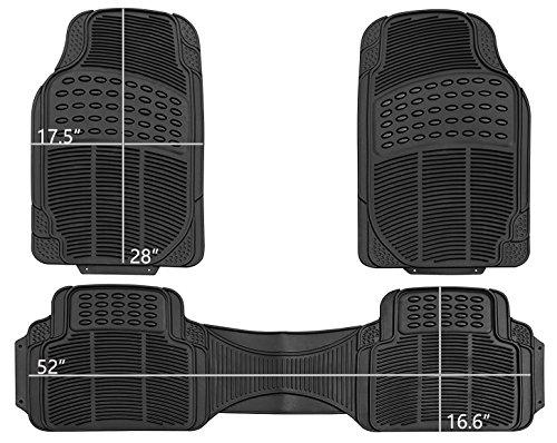 West Coast Auto Universal Rubber Floor Mats for Car, SUV, Van & Trucks (3-piece, black)