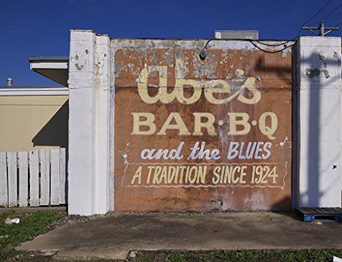 Photograph- Sign outside Abe's Bar-B-Q restaurant in Clarksdale, Mississippi 2 Fine Art Photo Reproduction 60in x 44in (Best Barbecue In Mississippi)