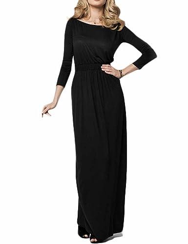 Celltronic Women Boat Neck Long Sleeve Long Maxi Dress