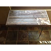 Beautiful reclaimed barn wood side table. 32x20x24 H featuring hairpin legs. Rustic yet modern.