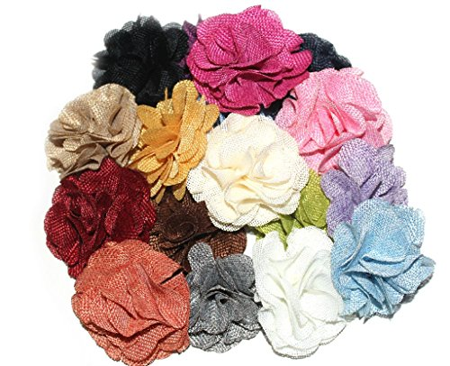 (12 pcs) JLIKA Burlap Flowers Embellishments Fabric Flowers Weddings Hair DIY, Large 3 inches, Assorted Color Mix Grab Bag