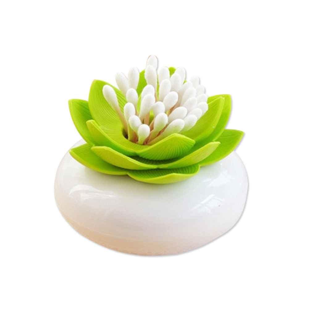 Omkuwl Créatrice de lotus de fleur de lotus Cure de dent Boîte de rangement de bourgeon de coton-tige. vert