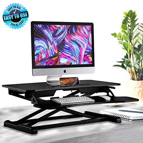 (Height Adjustable Computer Desk Stand - Portable Computer Sit / Stand Desk with Quick Setup Pop-up Design, Stain-Resistant, Provides Spacious Work Area & No Assembly Required - Pyle PDRIS14)