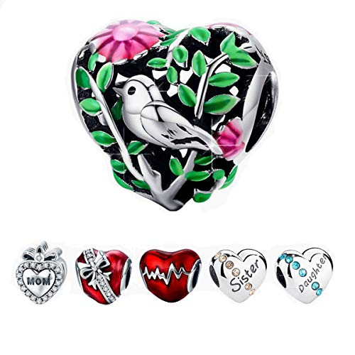 - BAMOER 925 Sterling Silver Heart Charm Beads Bird Charm Fit Bracelet Necklace for Her Spring Bird Charm