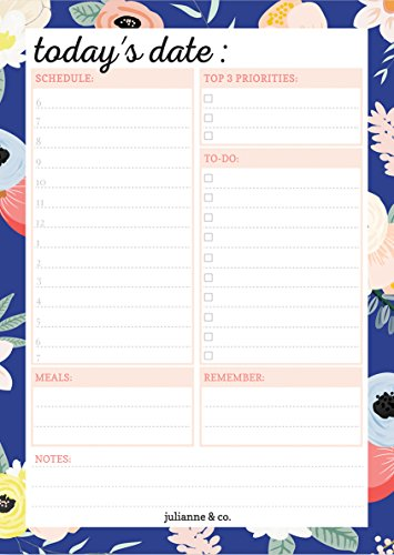 Premium Daily Planner Notepad by Julianne & Co - All-In-One Undated To-Do, Schedule & Priority List Planning Pad - Portable Tear-Off Sheet Design -Small Size A5 - Navy Floral Pattern -USA Made Daily Notepad