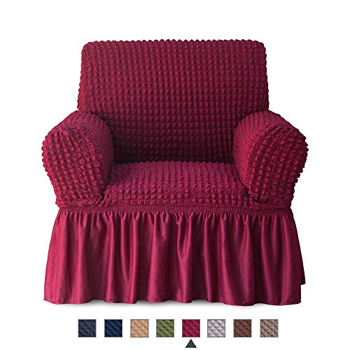 (NICEEC Armchair Slipcover Burgundy Armchair Covers 1 Piece Easy Fitted Sofa Couch Cover Universal High Stretchable Durable Furniture Protector with Skirt Country Style (1 Seater Wine Red) )
