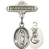 Sterling Silver Baby Badge with Our Lady of Guadalupe Charm and Godchild Badge Pin 1 X 5/8 inches