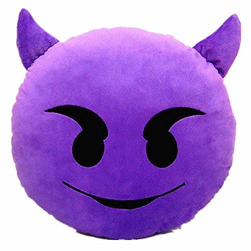 LI&HI 32cm Emoji Smiley Emoticon Yellow Round Cushion Pillow Stuffed Plush Soft Toy (Devil) Purple