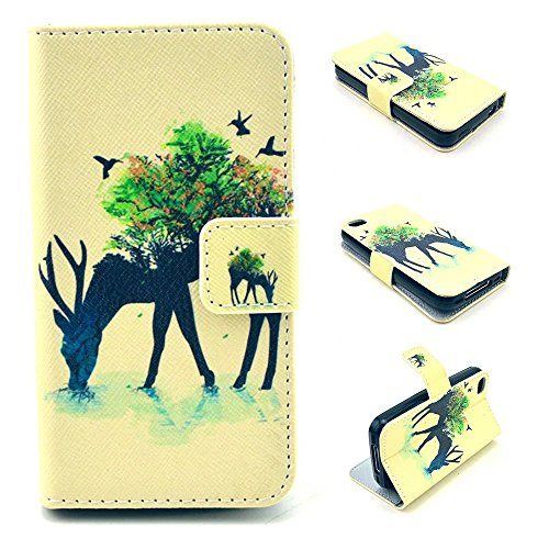 iPhone 4S Case,iPhone 4 Case, Kmety Deer Pattern Design Pu Leather with wallet Case for Apple iPhone 4S