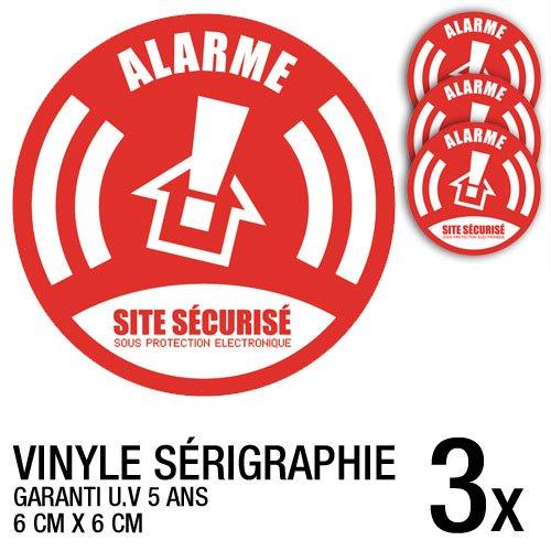 Aufkleber-Set Alarme Site Sécurisé für Alarmanlage, 3 Stück (nicht in deutscher Sprache), 6cm