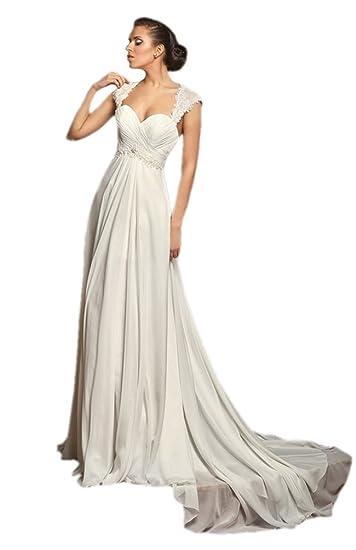 Engerla Womens Sweetheart Cap Sleeves Keyhole Back Sweep Train Chiffon Beach Wedding Dress Amazoncouk Clothing