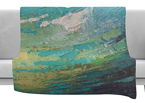 KESS InHouse Carol Schiff Sea Dance Teal Green Painting Fleece Throw Blanket, 80'' x 60'' by Kess InHouse