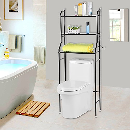 - Bathroom Space Saver,3-Tier Iron Toilet Towel Storage Rack Holder Over The Bathroom Toilet Shelf Organizer,22 X 10 X 60 Inch, Black
