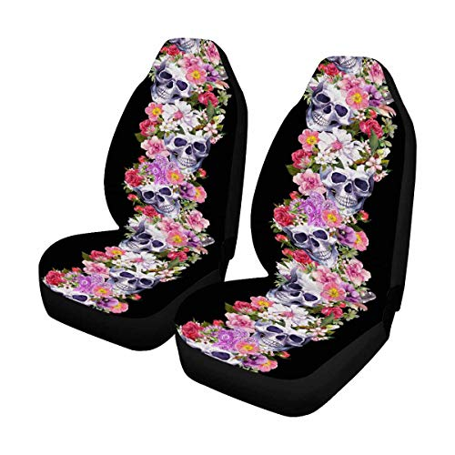 INTERESTPRINT Watercolor Human Skulls with Flower Dia De Muertos Holiday Auto Seat Protector 2 Pack, Entire Seat Protection, Car Front Seat Cushion for Pets Running Gym