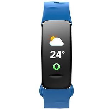 SLGJYY Bluetooth Smart pulsera pantalla a color de pulsera Pulsómetro Tensiómetro de medición Fitness Tracker, color azul: Amazon.es: Deportes y aire libre