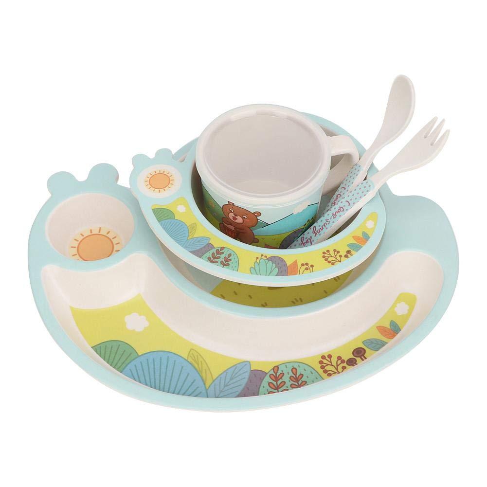 Pink 5Pcs Kids Bamboo Dinnerware Set Baby Divided Plate Tableware Set Cartoon Plate Bowl Cup Fork Spoon Children Feeding Tableware for Baby Kids Feeding Supplies