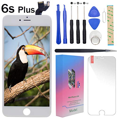 """- For iPhone 6s Plus Screen Replacement White - 5.5"""" Lcd Display with 3D Touch [Front Camera] [Proximity Sensor] [Ear Speaker] [Repair Tools] Full Assembly Digitizer Glass Kit for iPhone 6s Plus (White)"""