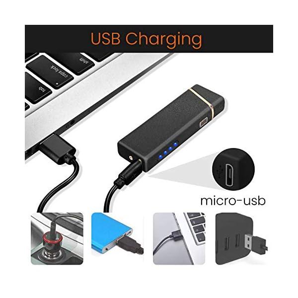 Ommani Encendedor Electrico, USB Encendedor de Doble Arco Recargable con Indicación de Batería, ARC Encendedor… 3