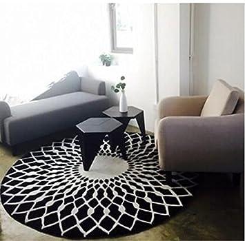 Tapis Mode Scandinave Tapis Rond Noir Et Blanc Salon Table Basse
