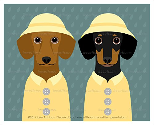 Amazon.com: 312D - Two Dachshund Dogs Wearing Yellow Raincoats and ...