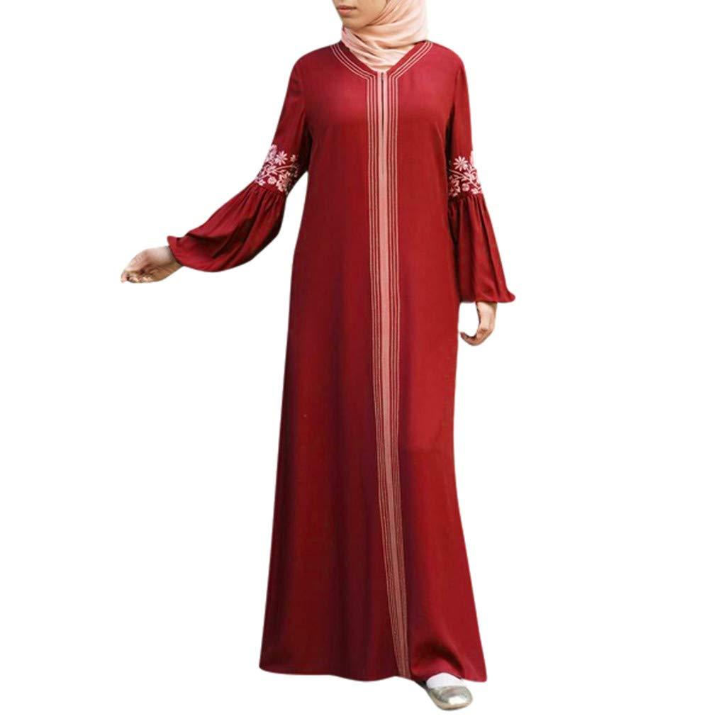 TIFENNY Long Sleeve Muslim Robes for Women Muslim Abaya Long Dress Floral Printed Vintage Kaftan Islamic Maxi Dresses Tops