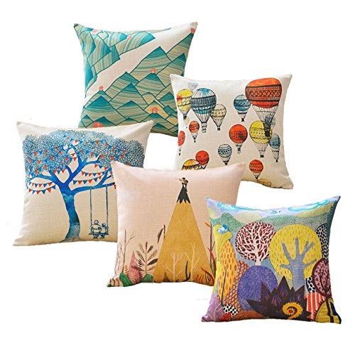 sykting Throw Pillow Covers 18 x 18 Square Pillow Cases Set