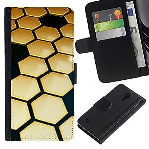 SAMSUNG Galaxy S4 IV / i9500 / SGH-i337 Modelo colorido cuero carpeta tirón caso cubierta piel Holster Funda protección - Hive Gold Black 3D Hexagon