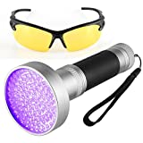 BOMEON UV Flashlight Black Light, Super Bright 100 LED Ultraviolet Blacklight Detector for Home & Hotel Inspection, Pet Stains And Bed Bug,Counterfeit Money.(Free UV Protection Glasses)