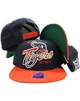 Detroit Tigers Navy Two Tone Plastic Snapback Adjustable Plastic Snap Back Hat / Cap