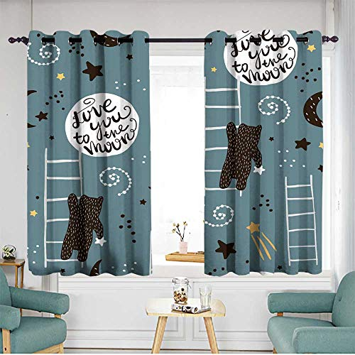 Sliding Door Curtains Seamless childish pattern with bears stars and moon Creative kids texture for fabric wrapping textile wallpaper apparel Vector illustration1 Insulated with Grommet Curtains for