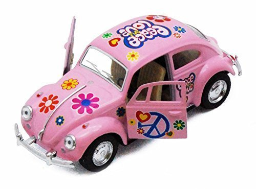 Classic Beetle (1967 Volkswagen Classical Beetle w/ Peace Love Decals, Pink - Kinsmart 5375DF - 1/32 scale Diecast Model Toy Car (Brand New, but NO BOX))