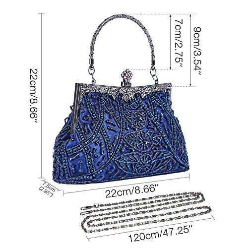 Bolso de mano de estilo vintage, blando, con cuentas y lentejuelas, diseño floral, marco de metal y broche, interior de satén, para cóctel Azul