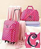 Girls & Teens Pink Polka Dot 3 Piece Luggage with C Monogram Letter