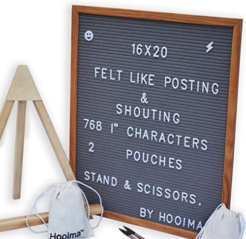 Gray Felt Letter Board 16x20: Oak Wood Frame Sign with 768 White Changeable Characters (Letters, Numbers, Symbols, Emojis) – with Wooden Display Stand, Scissors and 2 Organizing Canvas Bags by HOOIMA