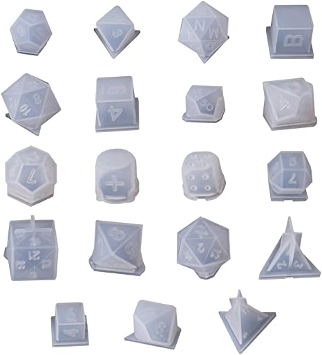 YU-NIYUT 8 Shapes DIY Playing Dice Mold Faceted Cube Round Dice Mold Crystal Resin Mold Kit Dice Digital Game Dice Silicone Mould