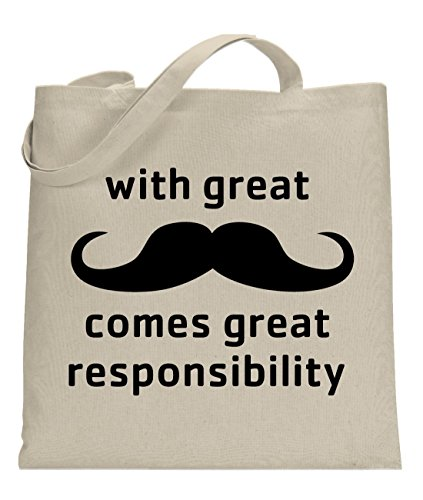 Price comparison product image Crazy Dog With Great Mustache Comes Great Responsibility Tote Bag -standard