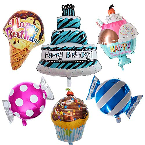 Happy Birthday Large Foil Balloon set - (6 pack) Cake, cupcake, ice cream cone, ice cream bowl, pink candy, blue candy by -
